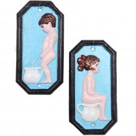 Plaque de porte garçon fille en fonte - 17,5 cm