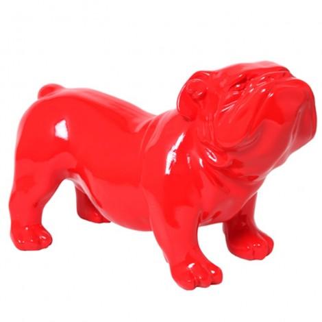 Statue en résine CHIEN bouledogue anglais rouge aspect lisse - 60 cm