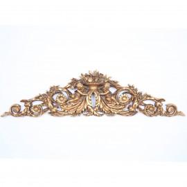 Fronton de porte en résine dorée tête de lit dessus de porte statue ange - 95 cm
