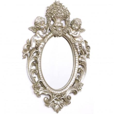 Miroir argenté en résine avec deux anges - 61 cm