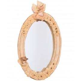 Miroir en résine statue ange assis et rose - 30 cm
