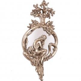 Miroir argenté en résine de style art nouveau statue femme - 95 cm