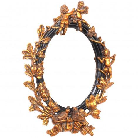 Miroir doré et noir en résine avec statues anges et oiseaux - 67 cm