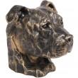 Statue tête de chien en résine pitbull staff américain oreille naturel - 35 cm