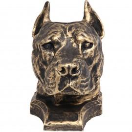 Statue tête de chien en résine bull terrier pitbull staff oreilles coupées - 36 cm