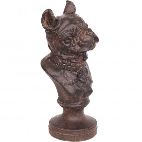 Statue tête de chien en résine bouledogue Anglais sur socle - 31 cm