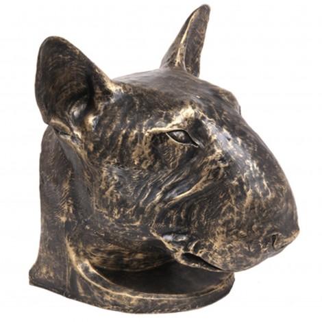 Statue tête de chien Bull Terrier en résine - 37 cm
