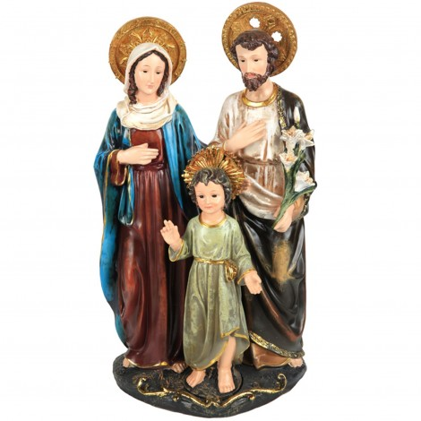 Statue la sainte famille en résine enfant jésus tunique verte - 53 cm