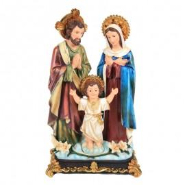 Statue la sainte famille en résine socle avec nuages et fleurs - 41 cm