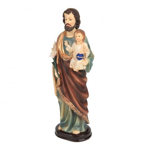 Statue Christ et enfant Jésus en résine socle marron - 31 cm