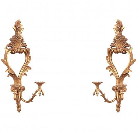 Paire d'appliques miroir dorées bras de torchère bougeoir en résine - 78 cm