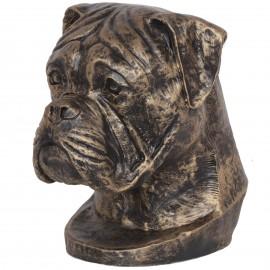 Statue tête de chien boxer en résine - 35 cm