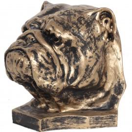 Statue tête de chien bouledogue Anglais en résine - 30 cm