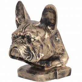 Statue tête de chien bouledogue Français en résine - 37 cm