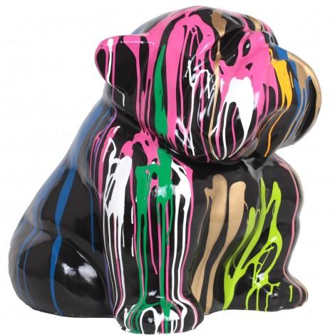 Statue en résine chien bouledogue anglais assis multicolore (Batiste)- 60 cm