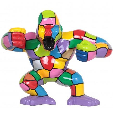 Statue en résine Donkey Kong gorille singe debout multicolore (Rudy) - 80 cm