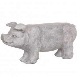 Statue en résine cochon porte jardinière couleur pierre - 78 cm