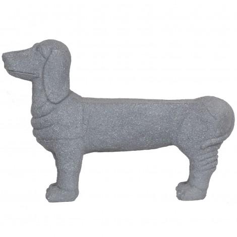 Statue en résine chien porte jardinière couleur pierre - 80 cm