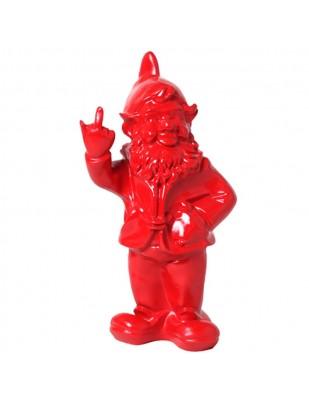 Statue en résine NAIN de jardin doigt d'honneur rouge - 33 cm