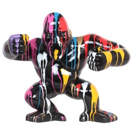 Statue en résine Donkey Kong gorille singe debout  multicolore fond noir - 80 cm