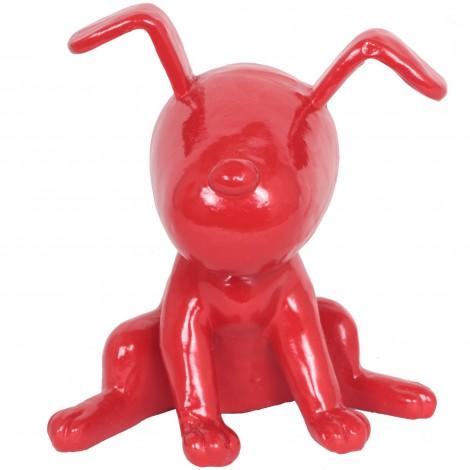 Statue chien Snoopy rouge en résine - 22 cm