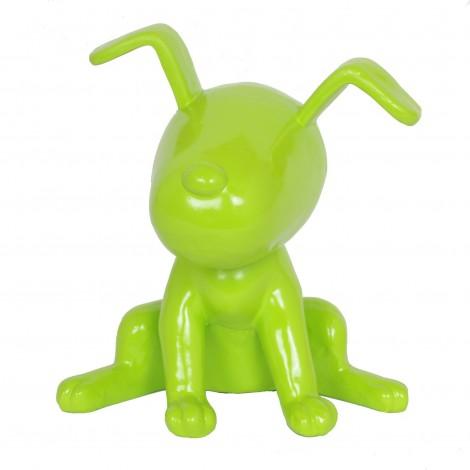 Statue chien Snoopy vert en résine - 22 cm
