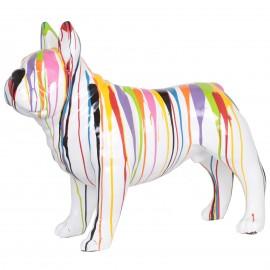 Statue chien bouledogue Français en résine multicolore fond blanc - 90 cm