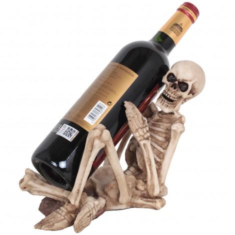 Porte-bouteille squelette en résine - 25 cm