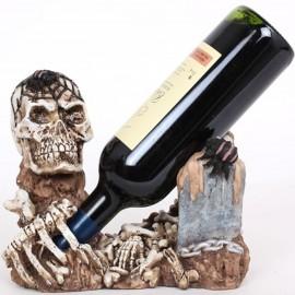 Porte-bouteille tête de mort squelette en résine - 23 cm