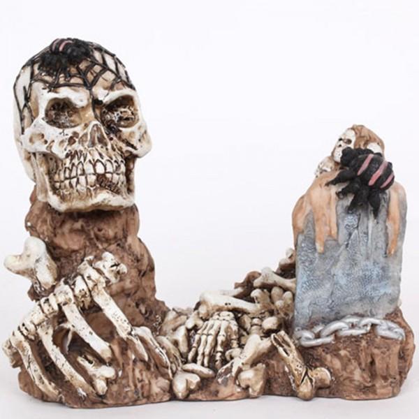 porte bouteille t te de mort squelette en r sine 23 cm. Black Bedroom Furniture Sets. Home Design Ideas