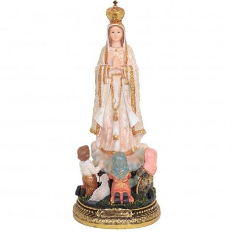 Statue vierge Marie trois enfants et mouton en résine - 40 cm