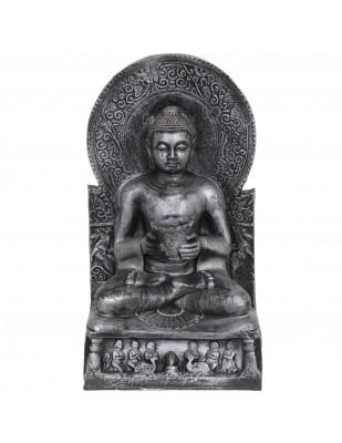 Statue bouddha couleur argentée position du lotus - 52 cm