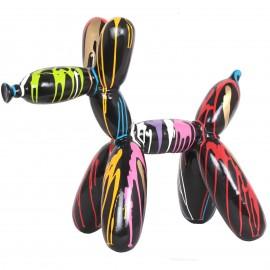 Statue chien ballon en résine multicolore fond noir - 65 cm