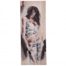 Tableau peinture jeune femme adossée au mur - 100 cm