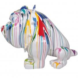 Statue en résine chien bouledogue anglais multicolore collier à pointe - 140 cm