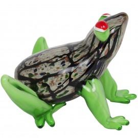 Statue grenouille verte en verre de style Murano - 15.5 cm