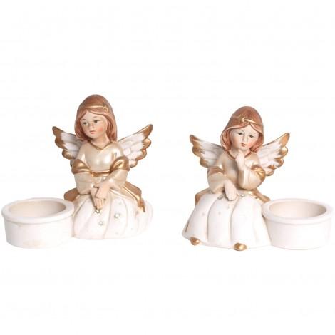 Service a condiment en porcelaine set de deux statues anges sel et poivre - 12 cm