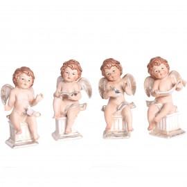 Statue anges en porcelaine set de quatre pièces - 15 cm