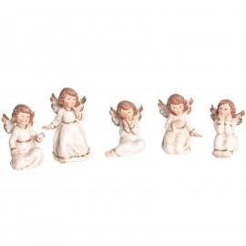Statue anges en porcelaine set de cinq pièces - 10 cm