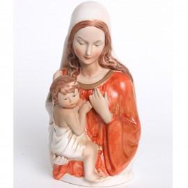 Statue en porcelaine polychrome vierge a l'enfant - 19 cm
