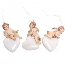 Statue anges sur cœur en porcelaine set de trois pièces à suspendre - 10 cm