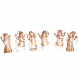 Statue anges en porcelaine set de six pièces à suspendre ou a poser - 9.5 cm