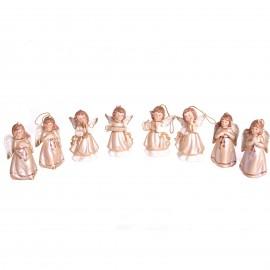 Statue anges en porcelaine set de huit pièces à suspendre ou a poser - 9.5 cm
