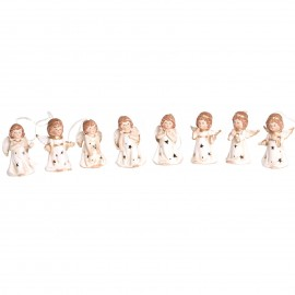 Statue anges lumineux en porcelaine set de huit pièces à suspendre ou a poser - 10 cm