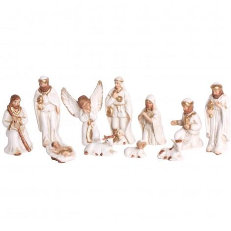Crèche de noël statue personnages et animaux en porcelaine 11 pièces - 10 cm