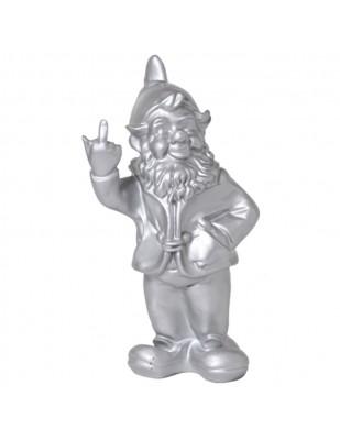 Statue en résine NAIN de jardin doigt d'honneur argent - 33 cm