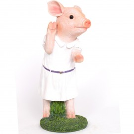 Statue cochon rose habillé d'une robe en résine  - 34 cm