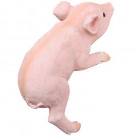 Statue cochon rose grimpeur en résine - 27 cm