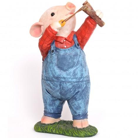 Statue cochon à la fronde en résine - 32 cm