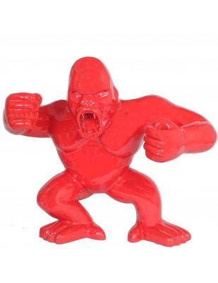 Statue en résine Donkey Kong gorille singe debout rouge (Louis) - 80 cm